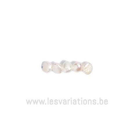 Fil de perles de culture - grain de riz - blanc nacré