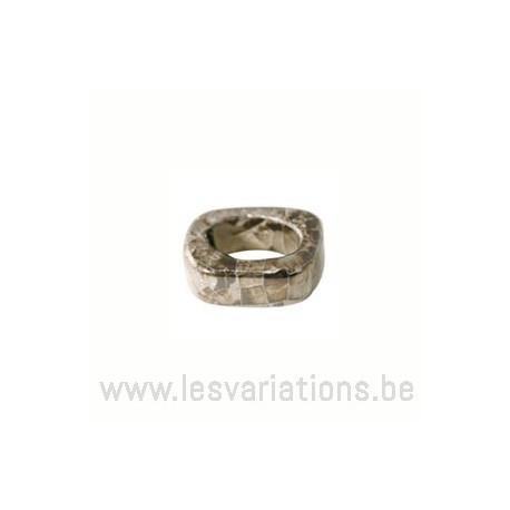 Perle en céramique - rectangulaire - gris
