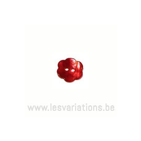 Bouton fleur nacré brillant - rouge