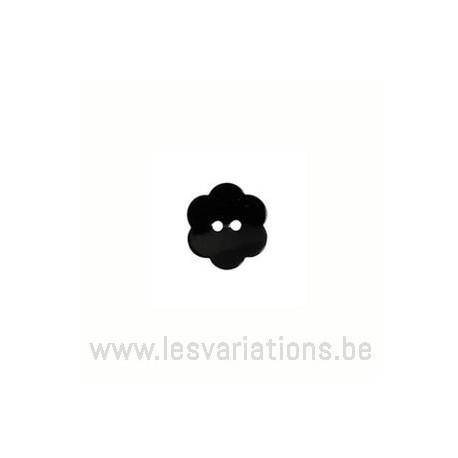 Bouton fleur nacré brillant - noir