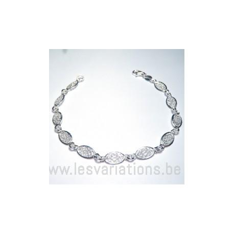 Bracelet ovale filigrane fini - en argent 925