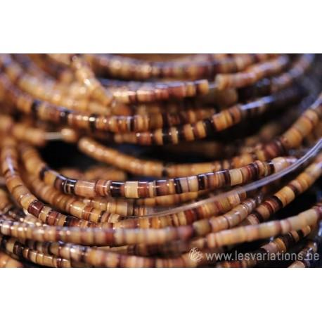 Fil de perles - coquillage nacré - brun