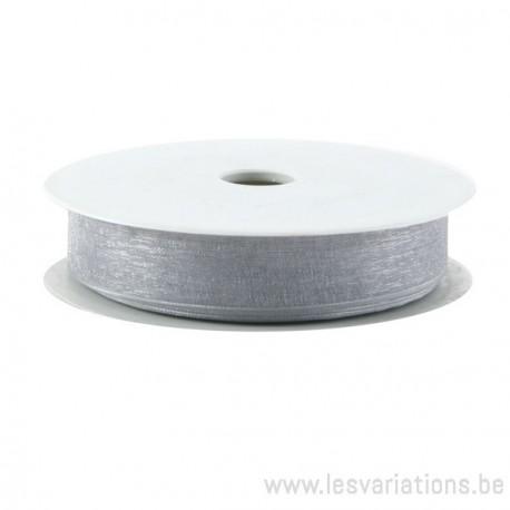 Tulle rubans - gris - par 25 cm