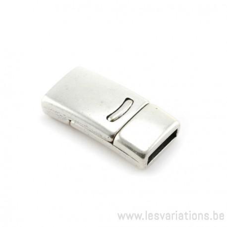 Fermoir magnétique métal 14x28xtr10x2.5mm métal argenté