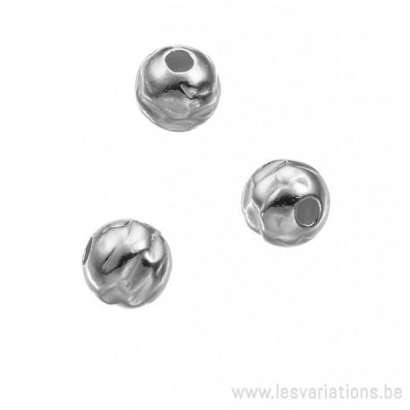 Perle martelé 6 mm - en argent 925 - intermédiaire