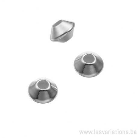 Perle ronde - toupie en argent 925 - intermédiaire