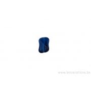 Perle en verre rectangulaire tordue - bleu foncé