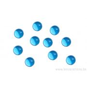 Cabochon en verre 8 mm - bleu transparent