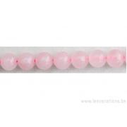 Perle en pierre naturelle - quartz rose du Brésil
