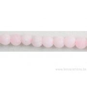 Perle en pierre naturelle - quartz rose du Brésil mat