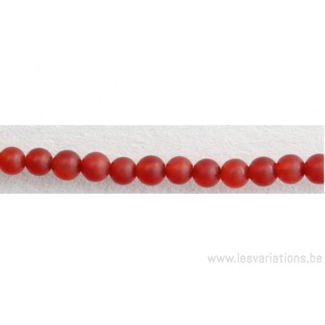 Perle en pierre naturelle - cornaline d'Inde - rouge mat