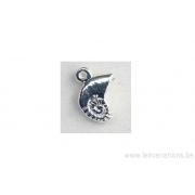 Breloque amonite (coquillage) - plaqué 10 microns - argenté