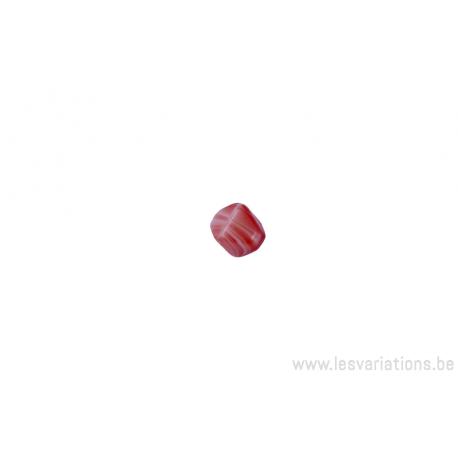 Perle en verre trapézoïdale - corail et blanc