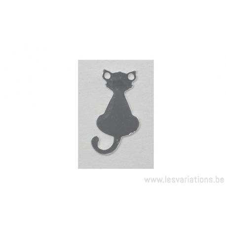 Breloque en forme de chat - plaqué 10 microns - argenté