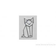 Breloque en forme de chat stylisé - plaqué 10 microns - argenté