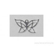 Breloque en forme de papillon stylisé - plaqué 10 microns - argenté