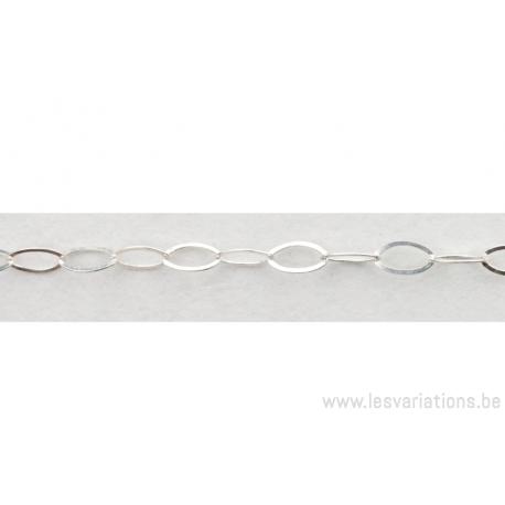 Chaîne anneaux fins ovales - en argent 925 - par 10 cm