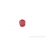 Perle en verre rectangulaire - tigré corail et blanc x 4