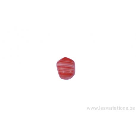Perle en verre rectangulaire - tigré corail et blanc