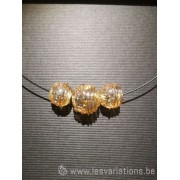 Pendentif 3 perles d'artisan - transparente dorée
