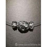 Pendentif 3 perles d'artisan - transparente dessin gothique gris métallique