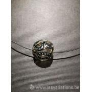 Pendentif 1 perles d'artisan - transparente fil noir à point argenté