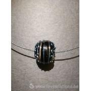 Pendentif 1 perles d'artisan -noir fil bleu métallique