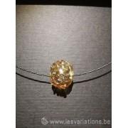Pendentif 1 perles d'artisan - transparent jaune fil argenté style gothique