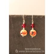 boucles d'oreille en perles d'artisan - rouge