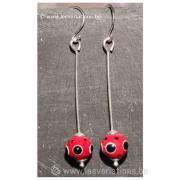 boucles d'oreille en perles d'artisan rouge - fil d'argent