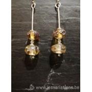 Boucles d'oreille en perles d'artisan transparent jaune - fil d'argent