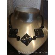 Collier en pierre naturelle mélange d'obsidiennes et onyx