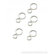 Double anneau fermé fil 0,8 diamètre 5,25 mm et 3,20 mm - en argent 925