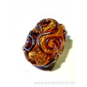 Perle en verre d'artisan - cylindre - blanc - spirales orange