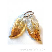 "Feuille en verre ""golden magic"" - par 2"