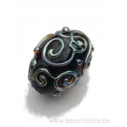 Perle en verre d'artisan ovale - noir décoration gothique - bleu métallique