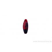 Perle en verre tube / ovale - à facette rouge et tacheté doré et noir