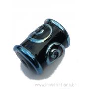 Perle en verre d'artisan tonneau - noir décoration gothique - bleu métallique
