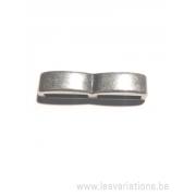 Intermédiaire double rectangle pour bracelet de cuir plat
