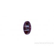 Perle en verre ovale - rouge moucheté brun, jaune, blanc
