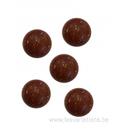 Cabochon pierre semi-précieuse gold sand brun12 mm