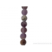Perle en pierre naturelle - améthyste mate 6 mm -fil de 40 mm
