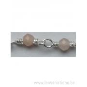 Perle en pierre naturelle - quartz rose + chaîne en argent 925 par 20 cm