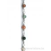 Perle en pierre naturelle - agate + chaîne en argent 925 par 20 cm