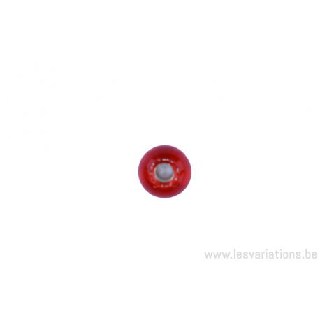 Perle en verre ronde - orange - feuille argenté