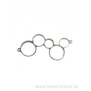 Base en argent 925 pour 5 cabochons - 2 anneaux pour pendentif / collier