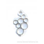 Base en argent 925 pour 8 cabochons - 2 anneaux pour pendentif / collier