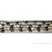 Long fil de perles de culture - grain de riz - blanc nacré / gris foncé