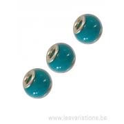 Perle en verre artisanale de Murano- roue - bleu turquoise- sertie argent 925