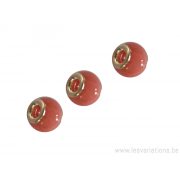 Perle en verre artisanale de Murano- roue - rose- sertie argent 925
